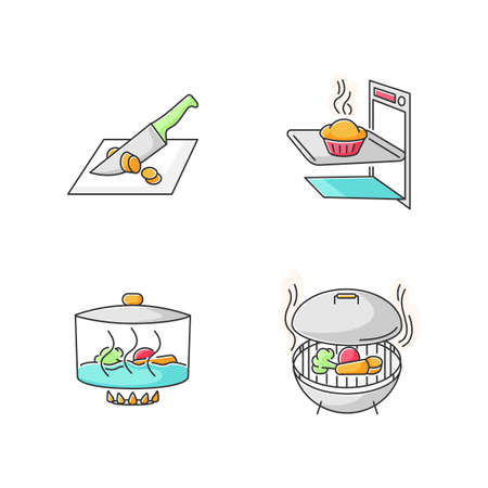 Cooking methods RGB color icons set. Various culinary techniques, food preparation process. Cutting, baking, stewing and grilling isolated vector illustrations