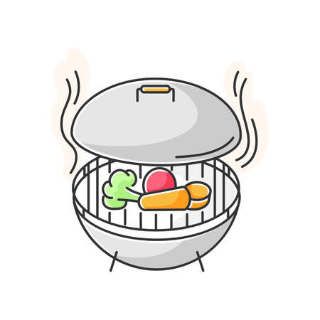 Grilling RGB color icon. Barbecue preparation process, cooking food on heated grid. Culinary method, picnic. Roasted vegetables and meat isolated vector illustration
