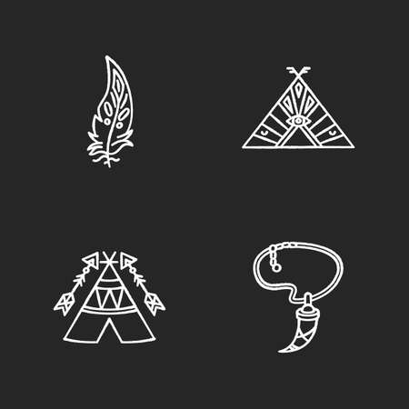 Native american indian accessories chalk white icons set on black background. Necklace with tooth, eagle feather. Wigwam with arrows and ethnic ornaments. Isolated vector chalkboard illustrations Vettoriali