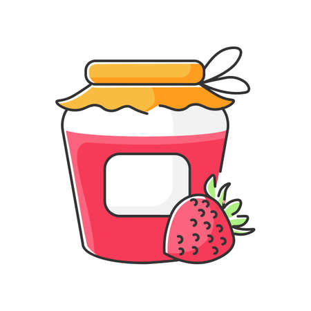 Bottling RGB color icon. Homemade fruit jam preparation, delicious confiture making process. Canning. Sweet strawberry marmalade jar isolated vector illustration