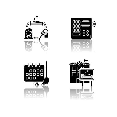Hostel drop shadow black glyph icons set. Renting room for night. Intercom. Security. Sleeping accommodation. Cleaning schedule. Cleanliness control. Isolated vector illustrations on white space
