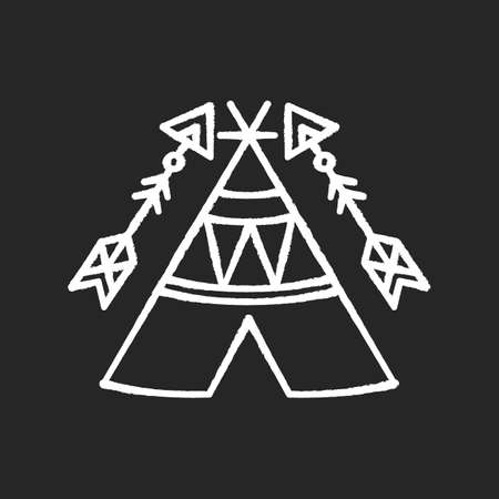 Tribal teepee in boho style chalk white icon on black background. Native American Indian dwelling. Hut with ornaments. Wigwam and arrows. Ethnic decoration. Isolated vector chalkboard illustration