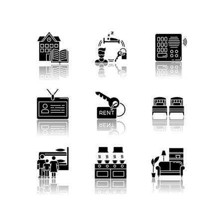 Renting drop shadow black glyph icons set. Family dormitory. Communal kitchen. Identity card. Living room. Intercom. Shared space. Rental service. Isolated vector illustrations on white space