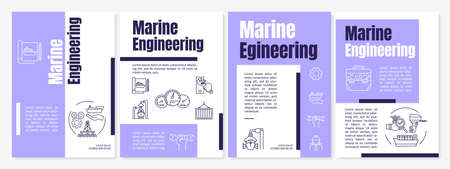 Marine engineering brochure template. Nautical industry job. Flyer, booklet, leaflet print, cover design with linear icons. Vector layouts for magazines, annual reports, advertising posters