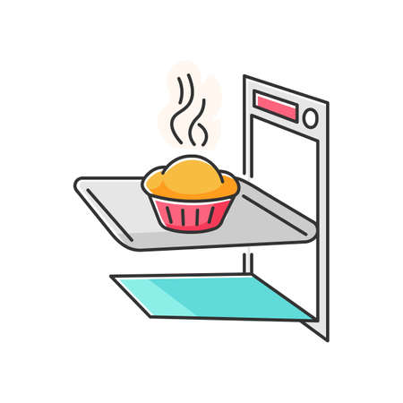 Baking RGB color icon. Delicious pastry cooking, tasty dough products preparation. Homemade bread in oven. Fresh baked pie, muffin cake isolated vector illustration