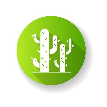 Cacti green flat design long shadow glyph icon. Desert plants. Saguaro cactus. Prickly tree like succulent. American arid area thorny wildflower. Silhouette RGB color illustration