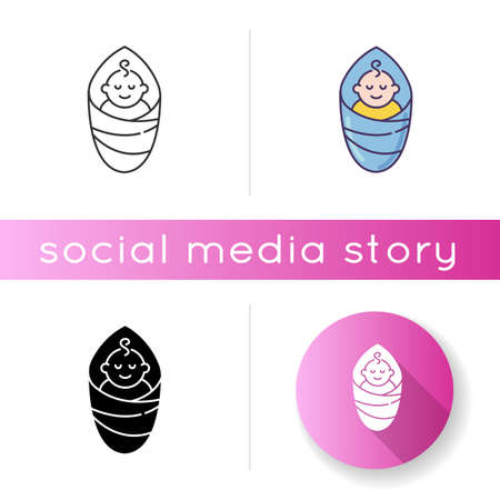 Baby icon. Newborn in diaper. Little kid smiling. Child sleeping. Cute family member. Parenthood highlight sign for social media story. Linear black and RGB color styles. Isolated vector illustrations  イラスト・ベクター素材