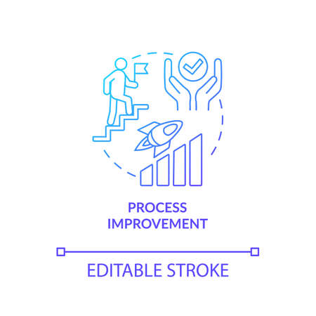 Working process improvement concept icon. Agency workflow optimization idea thin line illustration. Work result quality increase, professionalism growth. Vector isolated outline RGB color drawing Ilustracje wektorowe