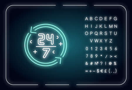 Nonstop service neon light icon. 24 7 hours store. All week open shop. All day available ATM. Outer glowing effect. Sign with alphabet, numbers and symbols. Vector isolated RGB color illustration Иллюстрация