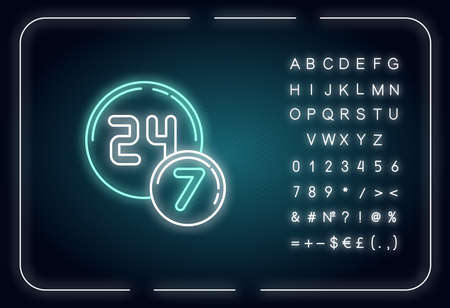 24 7 circle badge neon light icon. Twenty four seven hours round sign. All week open store. Outer glowing effect. Sign with alphabet, numbers and symbols. Vector isolated RGB color illustration Vector Illustration