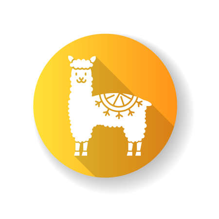 Alpaca yellow flat design long shadow glyph icon. Peruvian domesticated cute woolly llama. Hoofed ruminant animal from Andes. Camel-like funny mammal. Silhouette RGB color illustration
