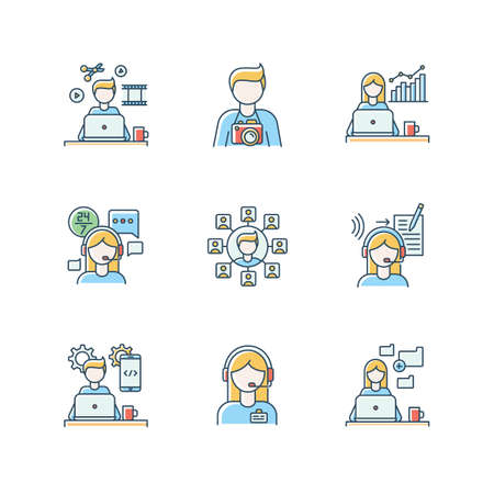 Remote jobs RGB color icons set. Technical and admin support, SEO and marketing. Photography and video editing, mobile app development and data entry jobs. Isolated vector illustrations