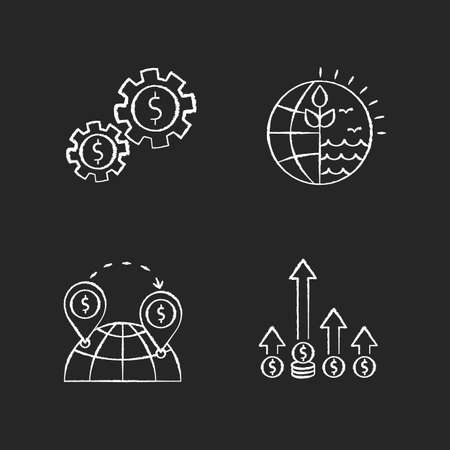 International business, global trade chalk white icons set on black background. Assets and natural resources using. Commerce, world trading, competitive edge. Isolated vector chalkboard illustrations  イラスト・ベクター素材
