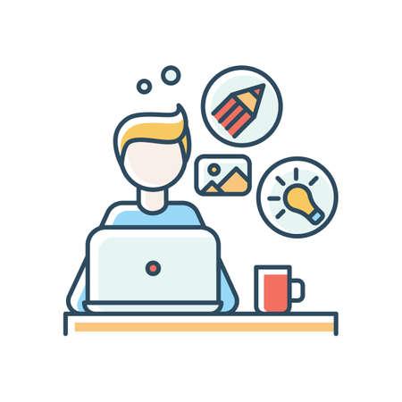 Graphic designer blue RGB color icon. Remote computer illustrator, editor, creative artist. Graphic editing, art design, online project. Freelance, distant job. Isolated vector illustration Vector Illustratie