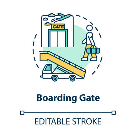 Boarding gate concept icon. Airport terminal. Airplane departure idea thin line illustration. Waiting area. Aircraft entry. Vector isolated outline RGB color drawing. Editable stroke