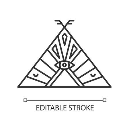 Native American chief teepee pixel perfect linear icon. Tribal dwelling. Thin line customizable illustration. Contour symbol. Vector isolated outline drawing. Editable stroke illustration