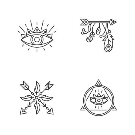 Magical symbols pixel perfect linear icons set. Eye of providence, mysterious talisman. Customizable thin line contour symbols. Isolated vector outline illustrations. Editable stroke