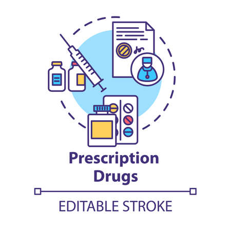 Prescription drugs concept icon. Medical pills idea thin line illustration. Doctor instruction. Patient medications bottles. Vector isolated outline RGB color drawing. Editable stroke