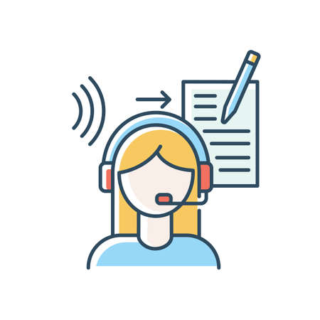 Transcription blue RGB color icon. Linguist, translator. Listening and translation, foreign language representation, audio records conversion into text. Isolated vector illustration