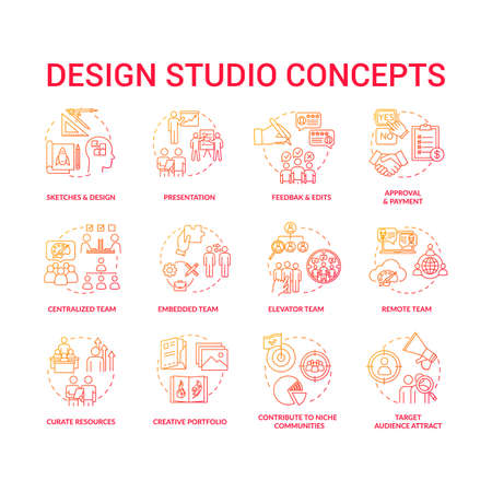 Design agency, creative workshop concept icons set. Designers team cooperation types and creative process steps idea thin line RGB color illustrations. Vector isolated outline drawings  イラスト・ベクター素材