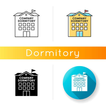 Company dormitory icon. Housing complex. Living accommodations for employees. Housing facilities. Linear black and RGB color styles. Linear, black and RGB color styles. Isolated vector illustrations