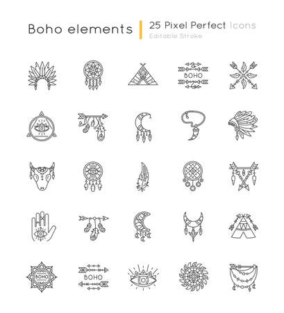 Boho style pixel perfect linear icons set. Native American Indian amulets. Dreamcatcher ethnic charms. Customizable thin line contour symbols. Isolated vector outline illustrations. Editable stroke