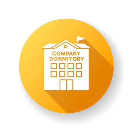 Company dormitory yellow flat design long shadow glyph icon. Housing complex. Accommodation for employees. Housing facilities. Residential area. Apartment block. Silhouette RGB color illustration