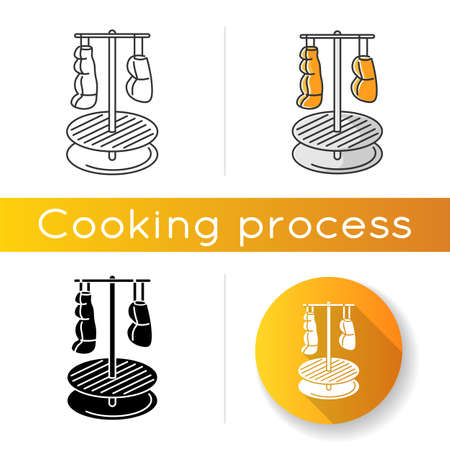 Food smocking icon. Linear black and RGB color styles. Flavoring and preserving products. Rustic cooking method, culinary technique. Meat hanging on smoker isolated vector illustrations Ilustração Vetorial