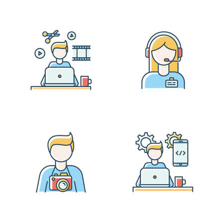 Ensemble d'icônes de couleur RVB des travailleurs à distance. Monteur vidéo et photographe, développeur d'applications mobiles. Support administrateur et programmation, production média. Illustrations vectorielles isolées Vecteurs