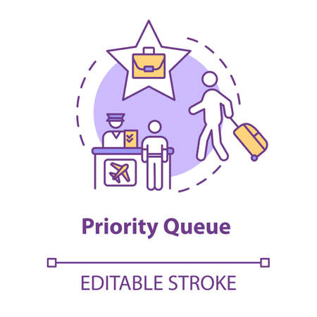 Priority queue concept icon. Luxury class flight idea thin line illustration. Passport control, access for VIP passengers. Vector isolated outline RGB color drawing. Editable stroke