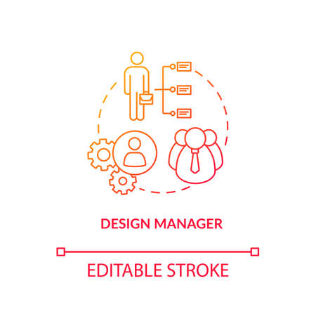 Design manager, agency executive concept icon. Studio management idea thin line illustration. Workshop structure, executive official duties. Vector isolated outline RGB color drawing Ilustración de vector