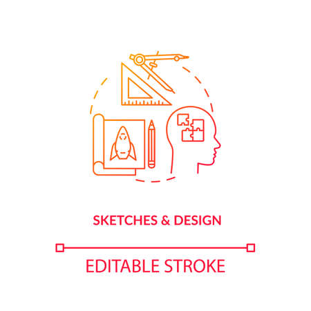Artisans sketches and design concept icon. Paperwork, designers groundwork idea thin line illustration. Plan forming, design process step. Vector isolated outline RGB color drawing