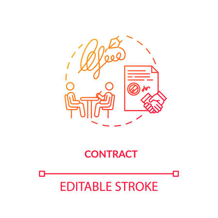 Contract, creative brief concept icon. Legal document, design studio staff official obligation idea thin line illustration. Employment agreement. Vector isolated outline RGB color drawing