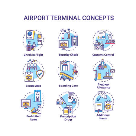 Airport terminal concept icons set. Security check, boarding gate idea thin line RGB color illustrations. Customs control, baggage allowance. Vector isolated outline drawings. Editable stroke