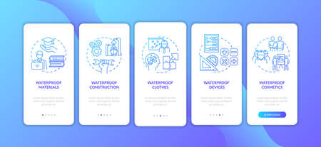 Waterproof constructions onboarding mobile app page screen with concepts set. Hydrophobic coating walkthrough 5 steps graphic instructions. UI vector template with RGB color illustrations