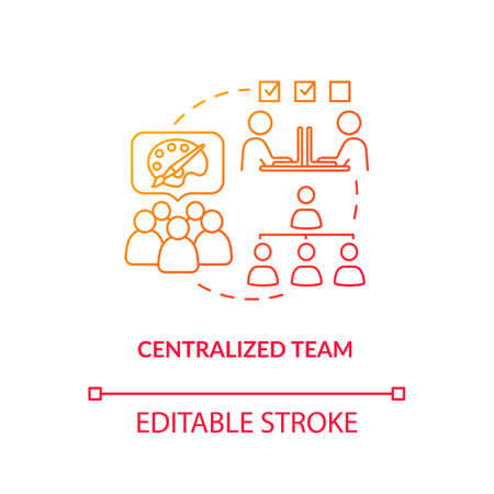 Centralized team, agency staff collaboration type concept icon. Work scheme idea thin line illustration. Design studio coworking structure. Vector isolated outline RGB color drawing