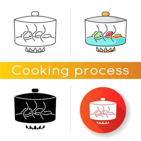 Stewing icon. Linear black and RGB color styles. Delicious gravy, goulash preparation process. Cooking method, culinary technique. Pan with meat and vegetables isolated vector illustrations