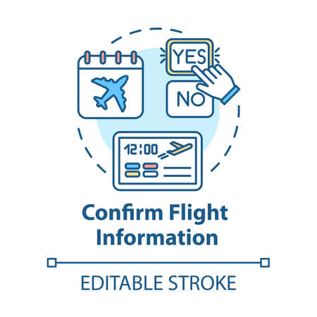 Confirm flight information concept icon. Airlines online services idea thin line illustration. Airplane travel status confirmation. Vector isolated outline RGB color drawing. Editable stroke 向量圖像