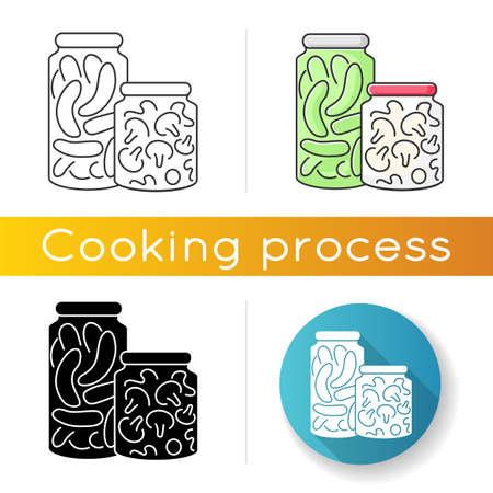 Pickling icon. Linear black and RGB color styles. Food conservation, vegetables preservation. Raw veggies fermentation in brine. Canned cucumbers and mushrooms isolated vector illustrations