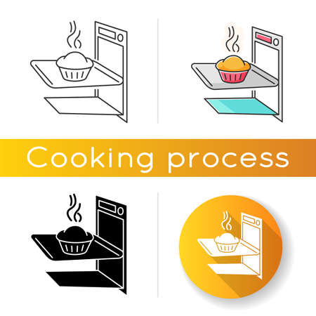 Baking icon. Linear black and RGB color styles. Delicious pastry cooking, tasty dough products preparation. Homemade bread in oven. Fresh baked pie, muffin cake isolated vector illustrations Ilustração Vetorial