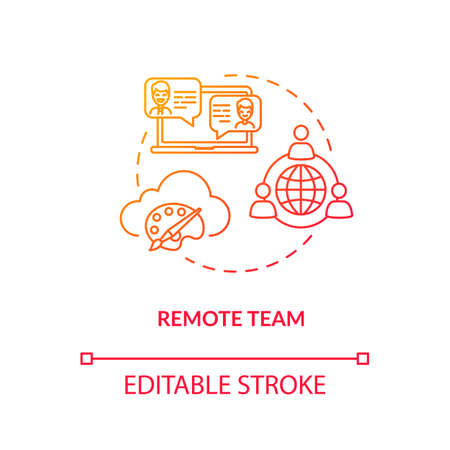 Remote team, distant workers concept icon. Creative freelance, coworking type idea thin line illustration. Designers project work, online communication. Vector isolated outline RGB color drawing