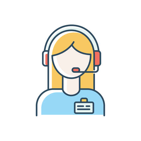 Admin support blue RGB color icon. Virtual assistant, online consultant, manager. Managing and assistance, client schedule planning, administration support. Isolated vector illustration