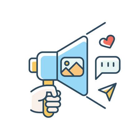 Community manager blue RGB color icon. Social media coordinator, advertising specialist. Internet marketing, social media platform managing and update. Isolated vector illustration