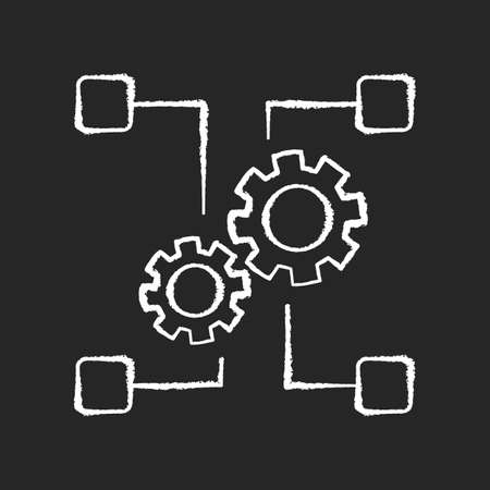 Outsourcing chalk white icon on black background. Manufacture system, industry. Transferring employees and production assets, companies cooperation. Isolated vector chalkboard illustration