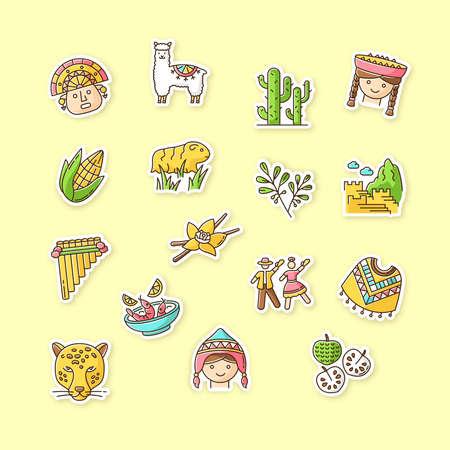 Peru printable patches. Peruvian sights, culture, nature. RGB color stickers, pins and badges set. Alpaca, guinea pig, siku, poncho, cherimoya, ceviche, jaguar. Vector isolated illustrations Ilustración de vector