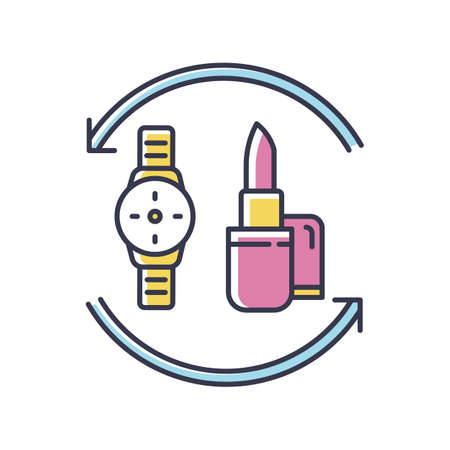 Barter RGB color icon. Swap products. Marketing strategy. Economic deal with goods. Exchange beauty and fashion items. Commerce circulation. Market anad consumption. Isolated vector illustration Vektorgrafik