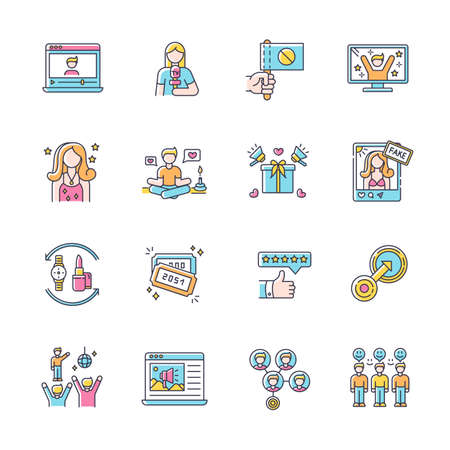 Social media promotion RGB color icons set. Barter of products. Mass effect. Native integration. Target marketing. Lifestyle blogger. Loyal audience. Raffle tickets. Isolated vector illustrations