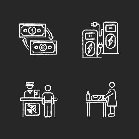 Airport terminal chalk white icons set on black background. Money exchange. Power recharge. Self service kiosk. Changing table for mother and baby. Isolated vector chalkboard illustrations