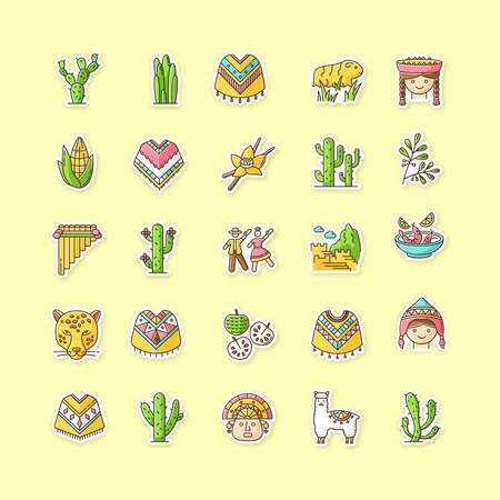 Peru printable patches. Andean country sights, traditions, agriculture, animals. RGB color stickers, pins and badges set. Alpaca, siku, poncho, cherimoya, ceviche. Vector isolated illustrations