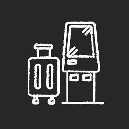 Check in kiosk chalk white icon on black background. Self serving airport terminal. Checked luggage in aircraft. Panel machine for passenger baggage. Isolated vector chalkboard illustration